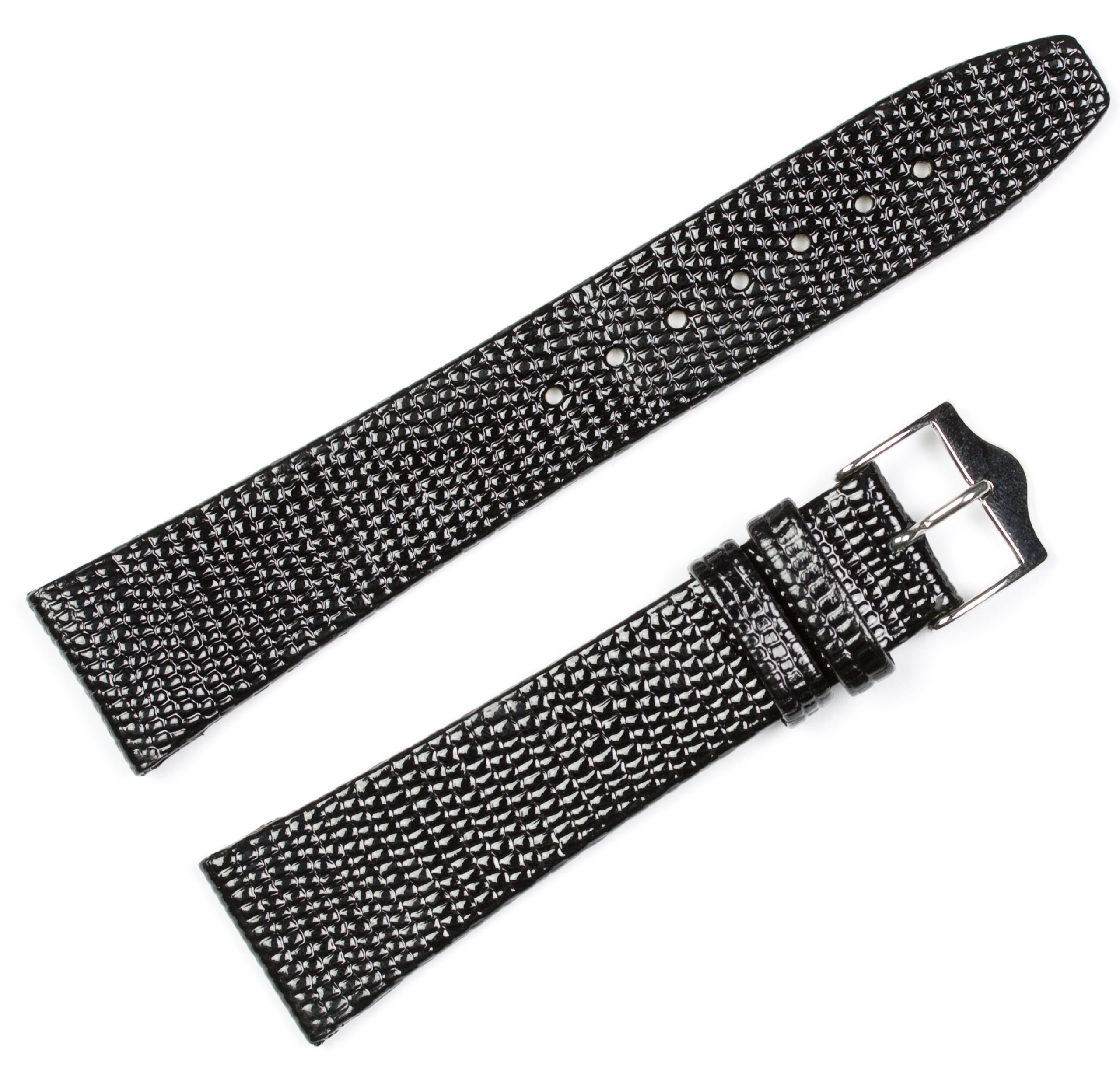 Lizard Grain Watchband - Flat - Black 18MM