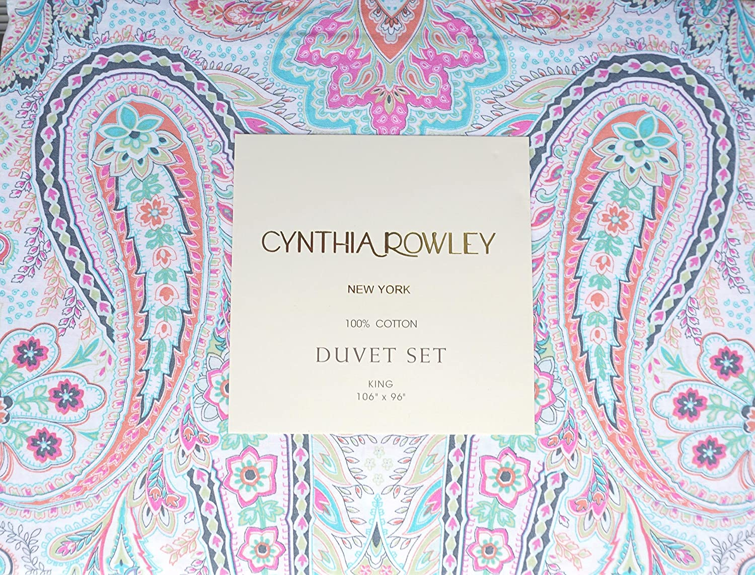 Cynthia Rowley Bedding 3 Piece King Duvet Cover Set Floral Paisley Pattern in Shades of Green Orange Blue Pink Black on White