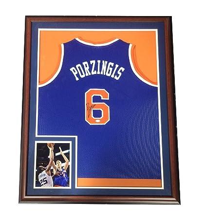 new style 699f1 373a8 Kristaps Porzingis signed framed NY Knicks blue #6 jersey ...