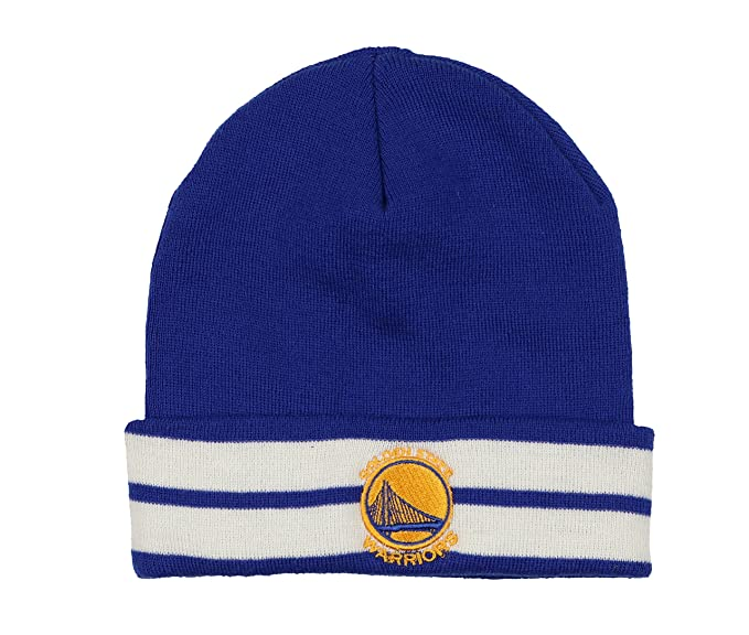 5aef1a0457a Image Unavailable. Image not available for. Color  Mitchel   Ness Men s  Golden State Warriors Team Stripe Beanie Royal Blue
