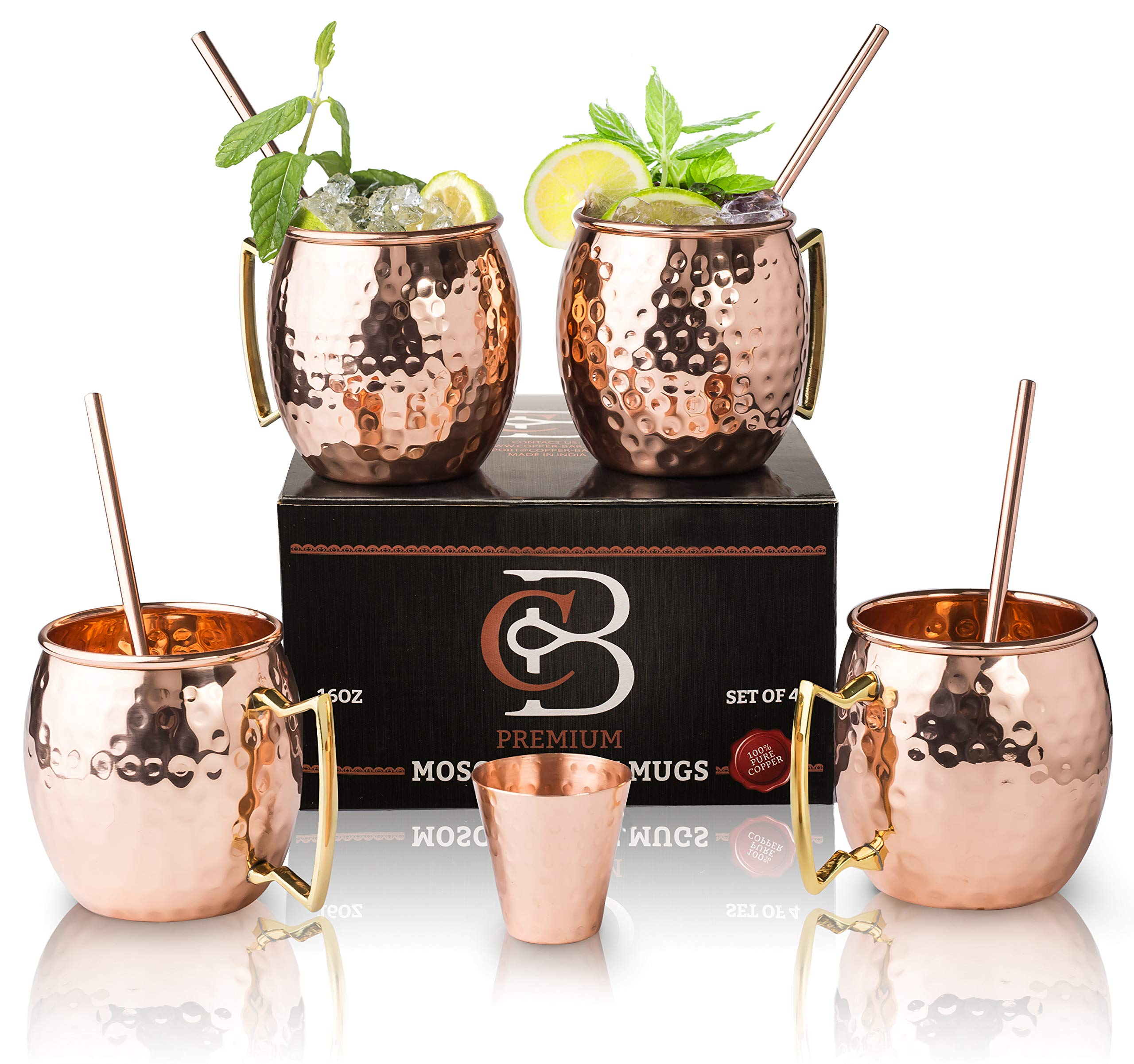 Moscow Mule Mugs 100% Solid Copper, Hammered, Gift Set of 4, No Nickel - Food Safe, 16oz, BONUS: 4 Straws + 1 Shot Glass & 2 E-Books by Copper-Bar by Copper-Bar