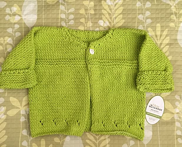 b3d27c9c7 Amazon.com  Cute Green Hand Knit Baby Sweater--Lime Green--in Cotton ...