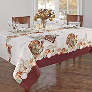 Elrene Home Fashions Holiday Turkey Bordered Fabric Tablecloth for Fall/Harvest/Thanksgiving, 60