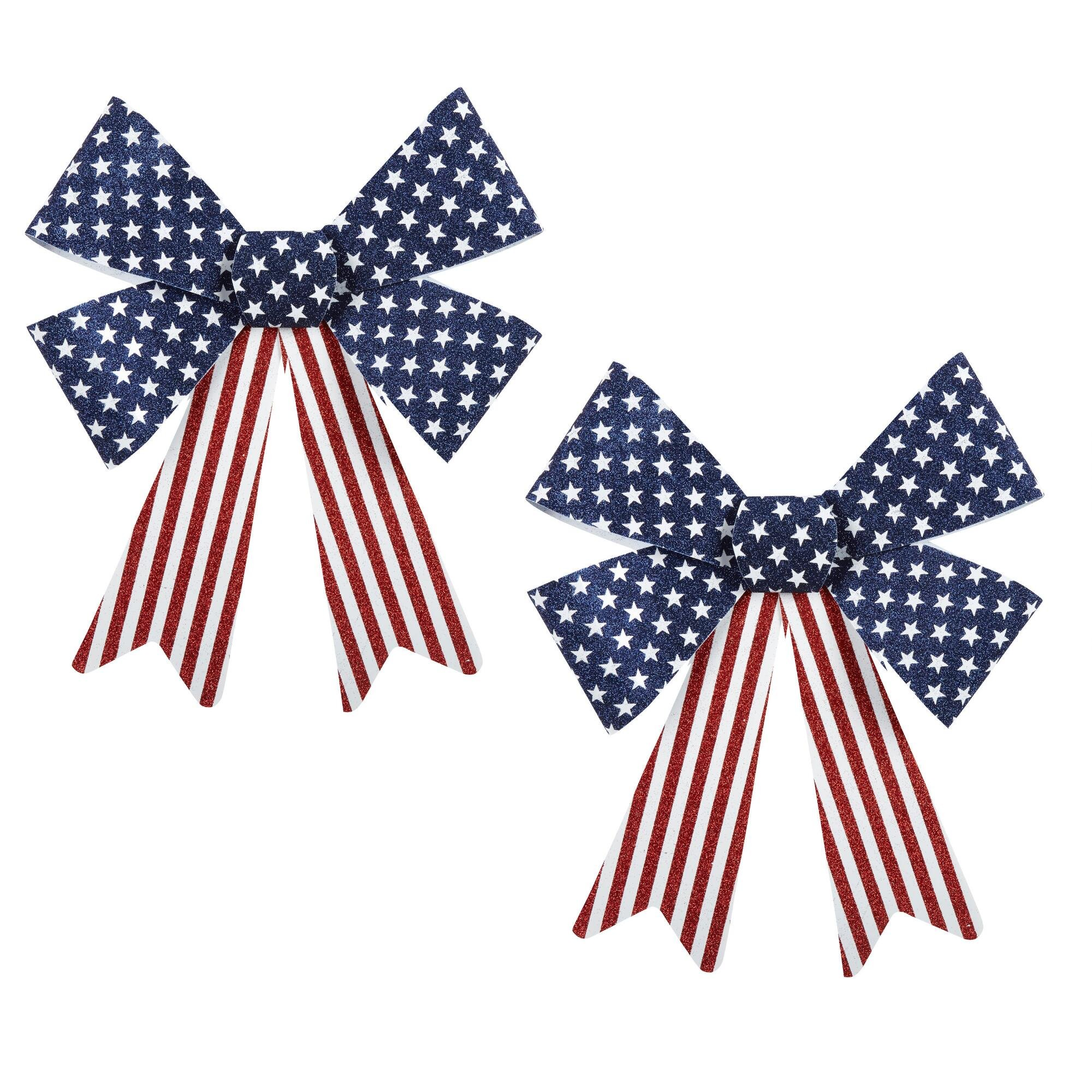 Nantucket Home USA Patriotic Glitter Bow Door Wall Decoration, Set of 2, 17-Inch x 15-Inch