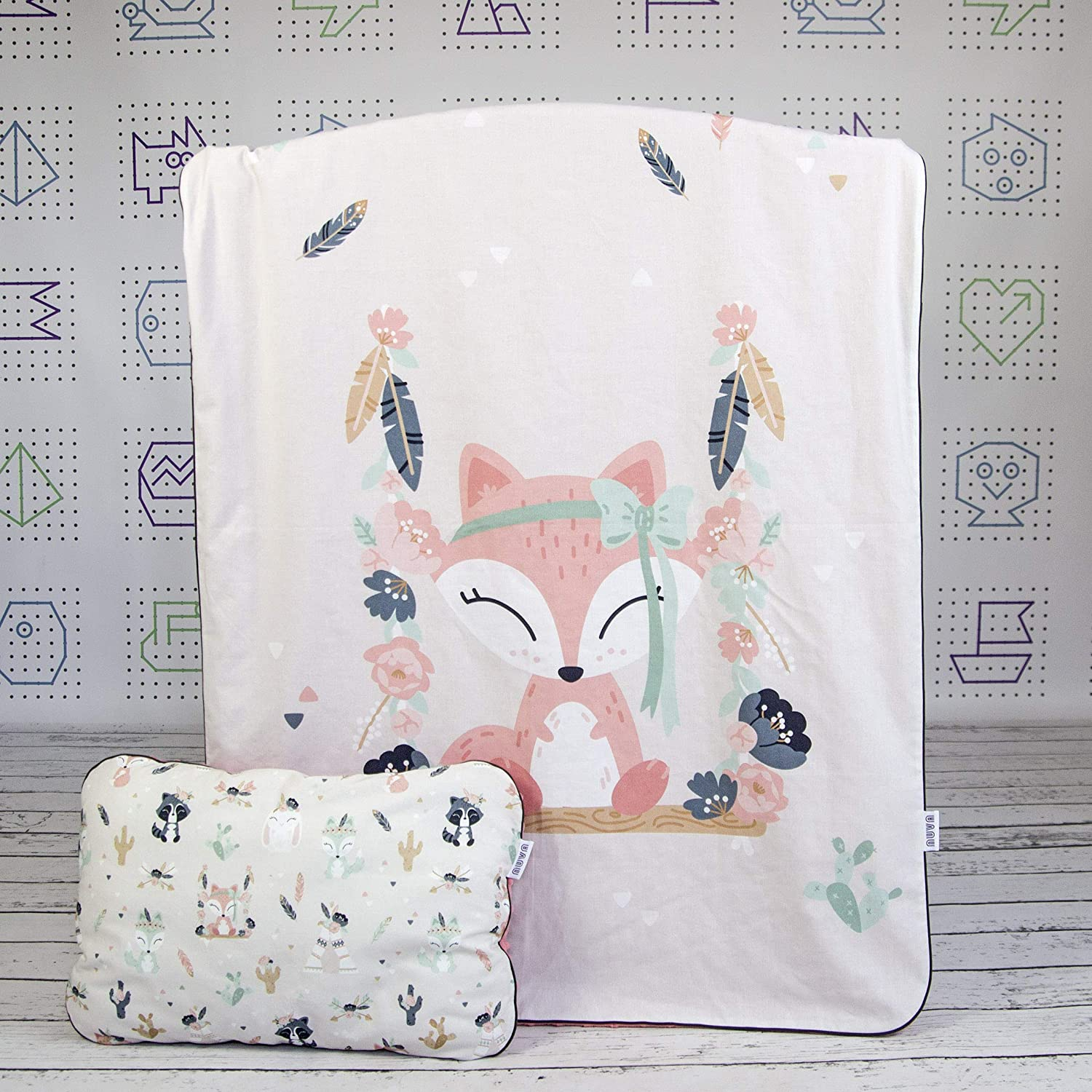 Fox Bohemian Friends Baby Crib Bedding Minky Blanket With Panel Print And Flat Infant Pillow Nuva Amazon Co Uk Handmade