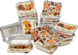 "36 Count Thanksgiving Tin Foil Containers with Lid Covers for Cookies in 2 Holiday Harvest Designs Autumn Aluminum Disposable Food Storage Pans for Fall Treat Goodie Party Leftovers 5""W X 7""L X 1.5"""