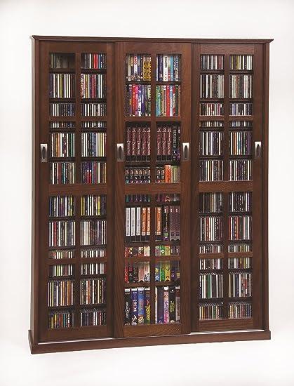 Amazoncom Multimedia Wall Cabinet W Three Sliding Doors W Glass