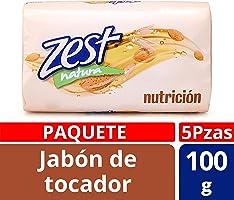 Zest Jabón de Tocador Nutrición Almendra, 100 gr, Paquete de 5 Piezas