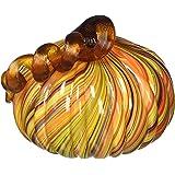 Glitzhome Hand Blown Multi-Striped Glass Pumpkin