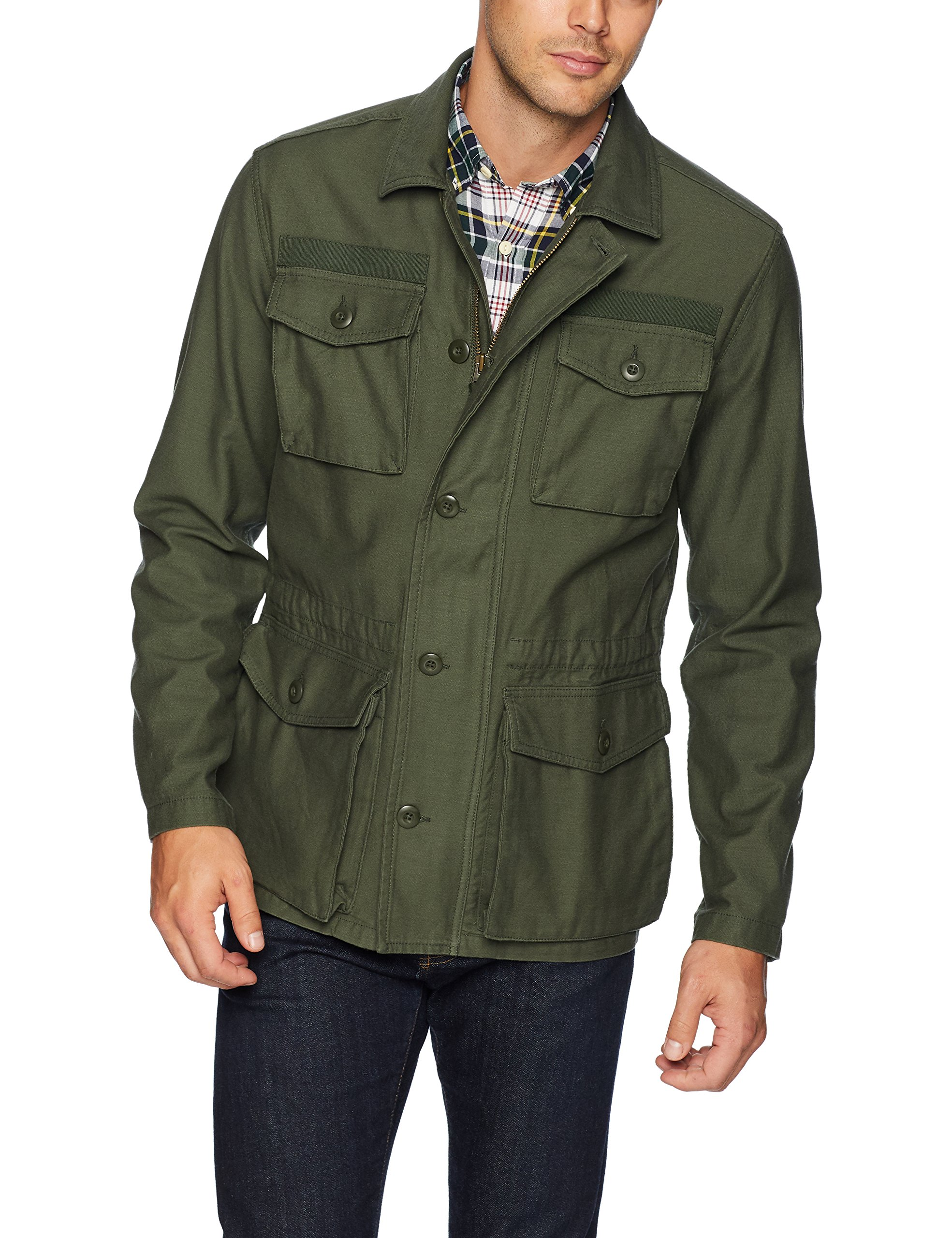 Goodthreads Men's 4-Pocket Military Jacket, Deep Depth/Olive, Small by Goodthreads