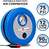 AllExtreme AE-CQ8002 Hi-Power Tyre Inflator with Analog Tyre Pressure Gauge Car Tire Tyre Air Pressure Gauge Diagnostic Emergency Tool Air Compressor -Tire Tester Meter Manometer for Auto Car Motorcycle (Blue)