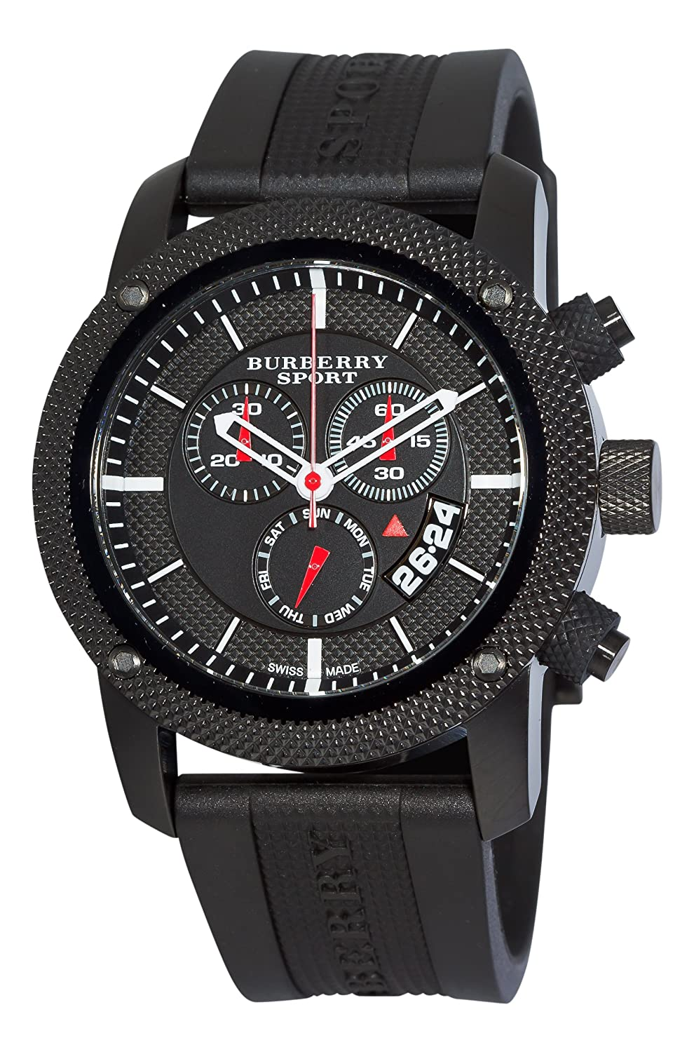 chronograph dp burberry black men watches com s amazon sporty endurance watch dial
