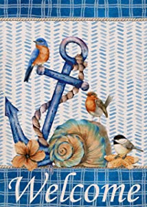 Covido Home Decorative Welcome Anchor Small Garden Flag, Nautical Blue Bird Buffalo Plaid Beach Summer House Yard Outdoor Decor Farmhouse Coastal Conch Sea Outside Decoration Double Sided 12x18