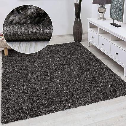 VIMODA Prime Shaggy Teppich Farbe Anthrazit Hochflor Langflor Teppiche  Modern für Wohnzimmer Schlafzimmer, Maße:80x150 cm
