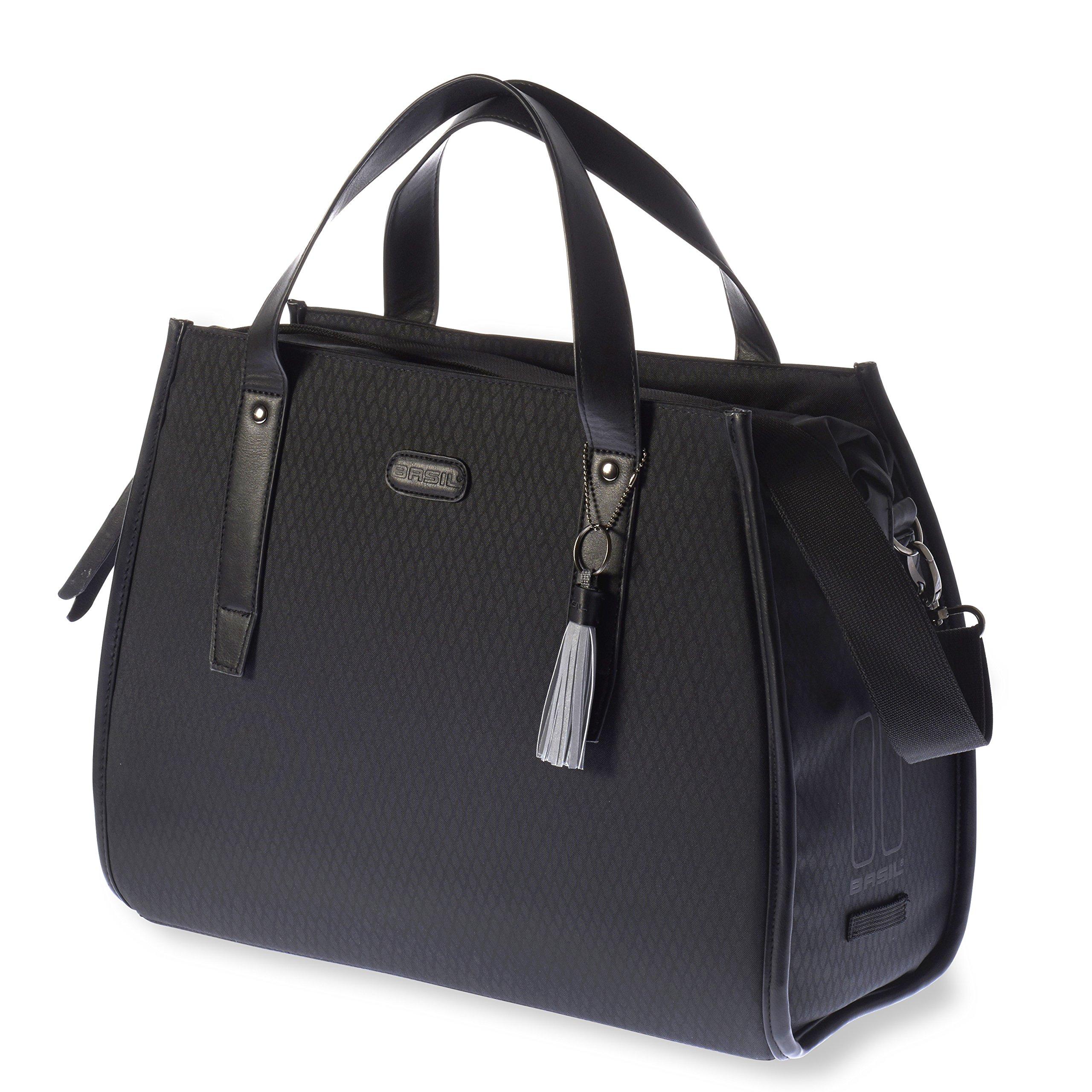 Basil Noir Business Bicycle Pannier Bag - Midnight Black - 17 Litre
