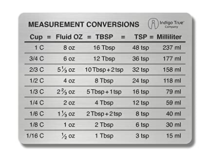 Amazon Measurement Conversion Chart Refrigerator Magnet