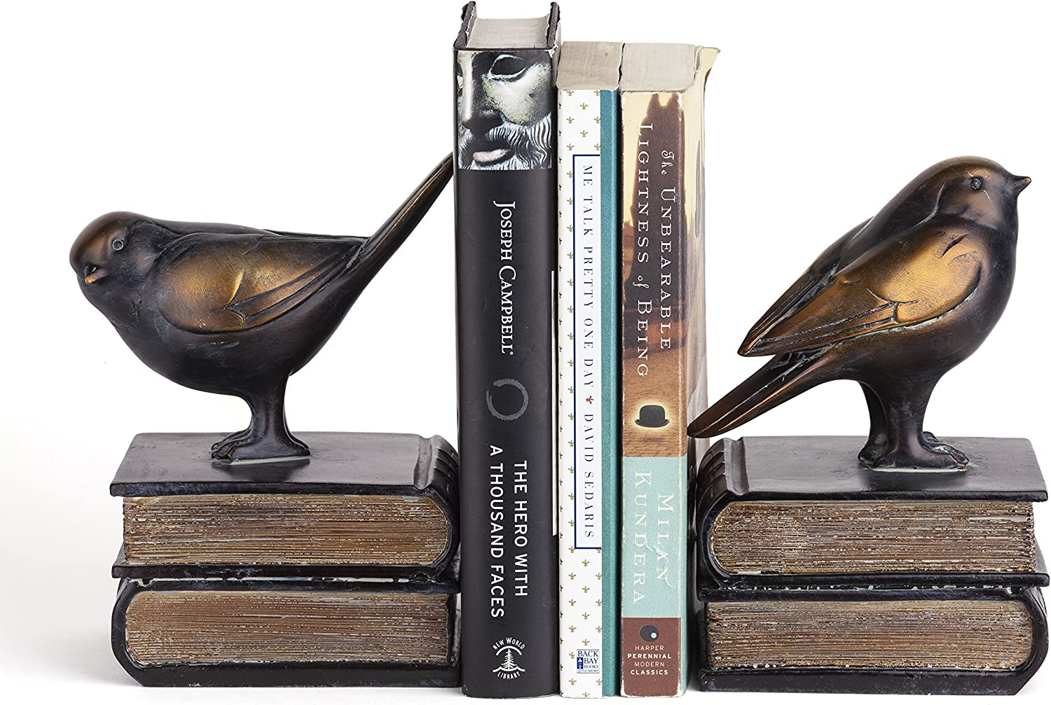 Danya B. DS781 Decorative Rustic Bookshelf Decor - Birds on Books Bookend Set - Bronze