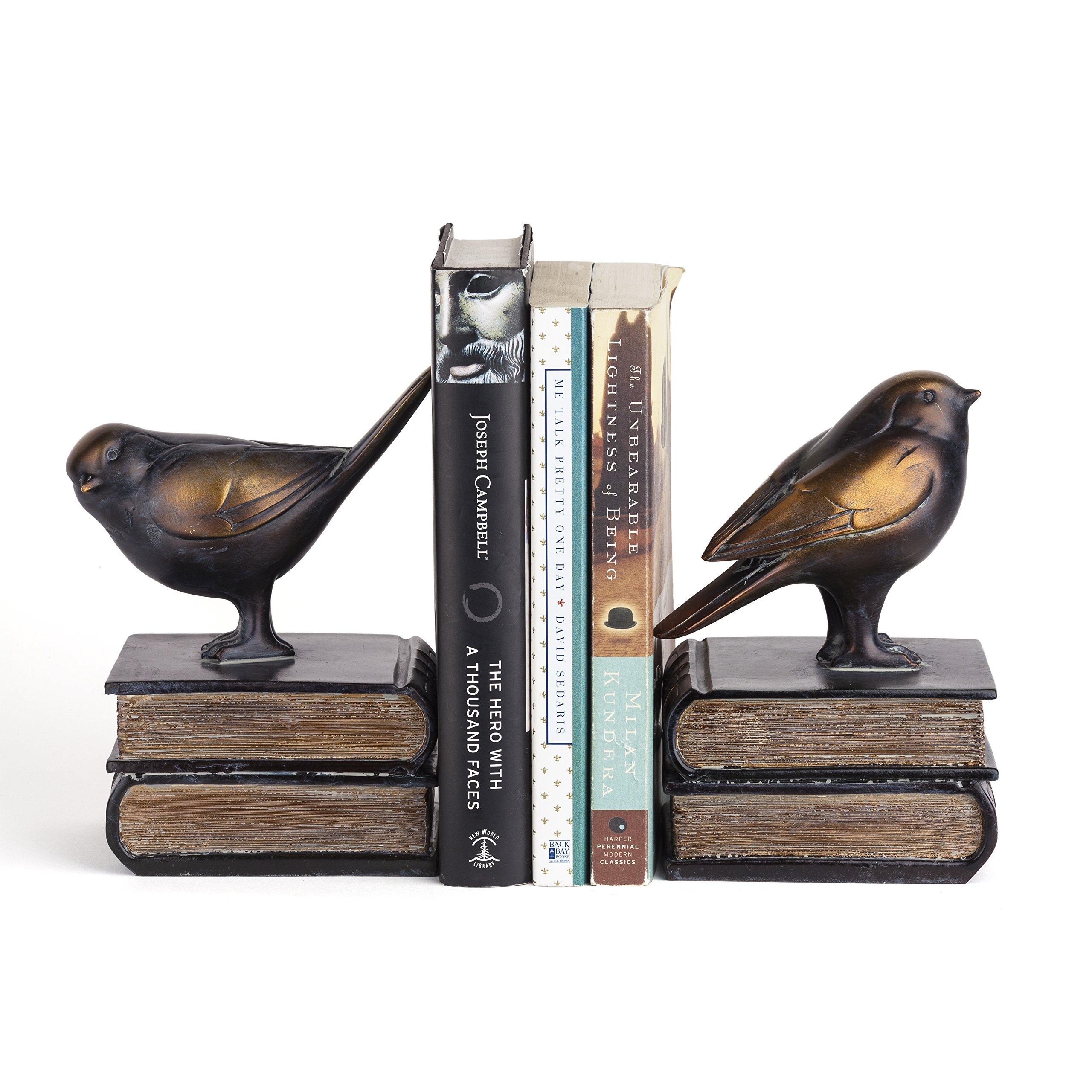 Danya B. DS781 Decorative Rustic Bookshelf Decor - Birds on Books Bookend Set - Bronze by Danya B