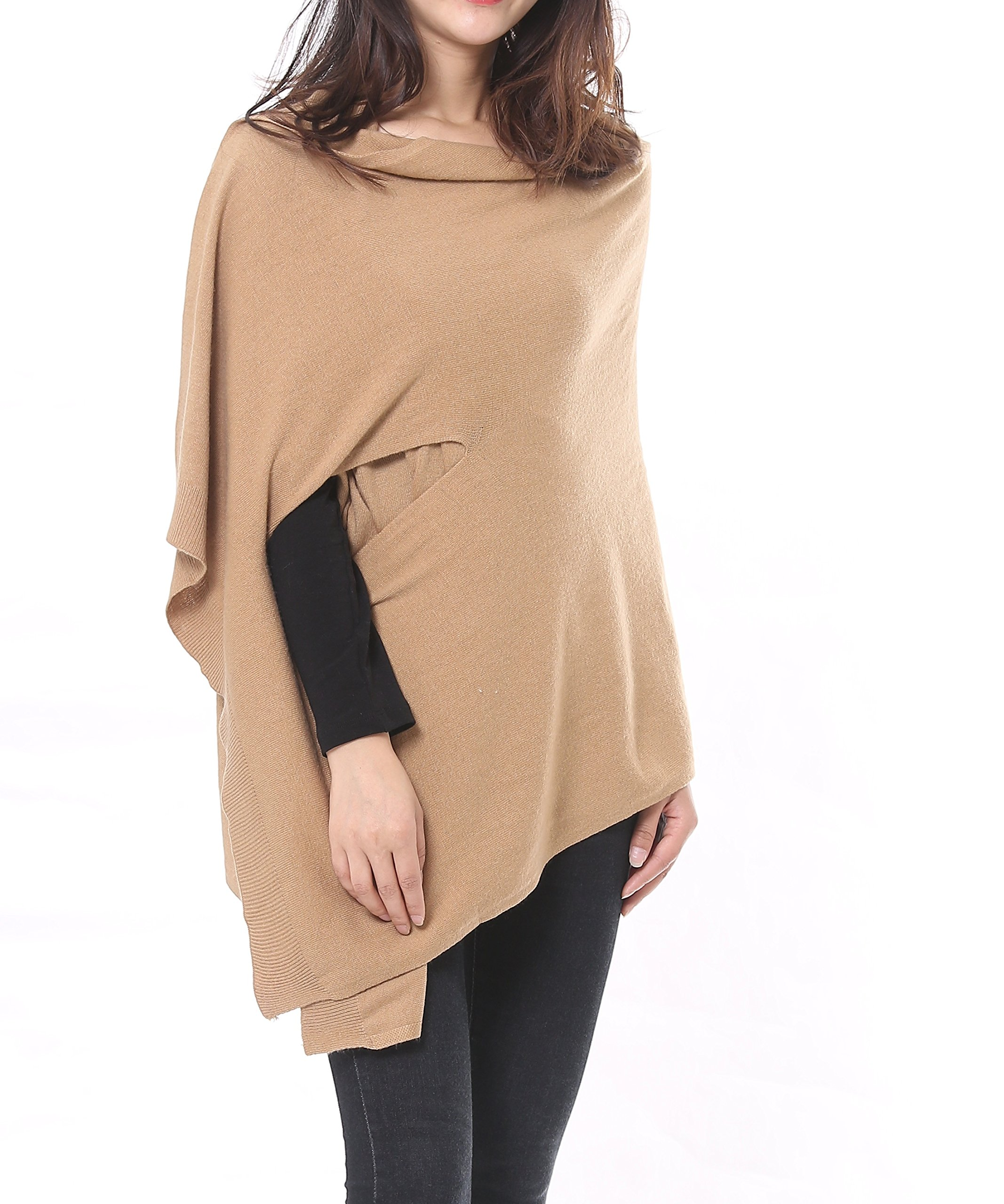 Bruceriver Women's Wool Blended Multi Style Long Knit Scarf Poncho Topper Size XS/S (Camel)
