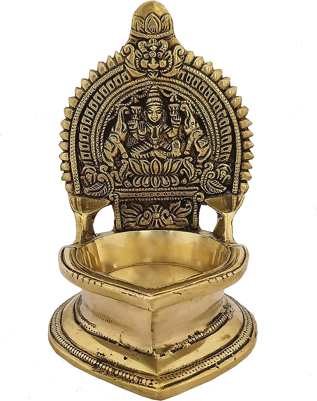 Indian Diwali Oil Lamp Pooja Diya Brass Light Puja Decorations Mandir Decoration Items Handmade Home Backdrop Decor Lamps Made in India Decorative Sri Kamachi Amman Vilaku Kamakshi Vilakku - Gold