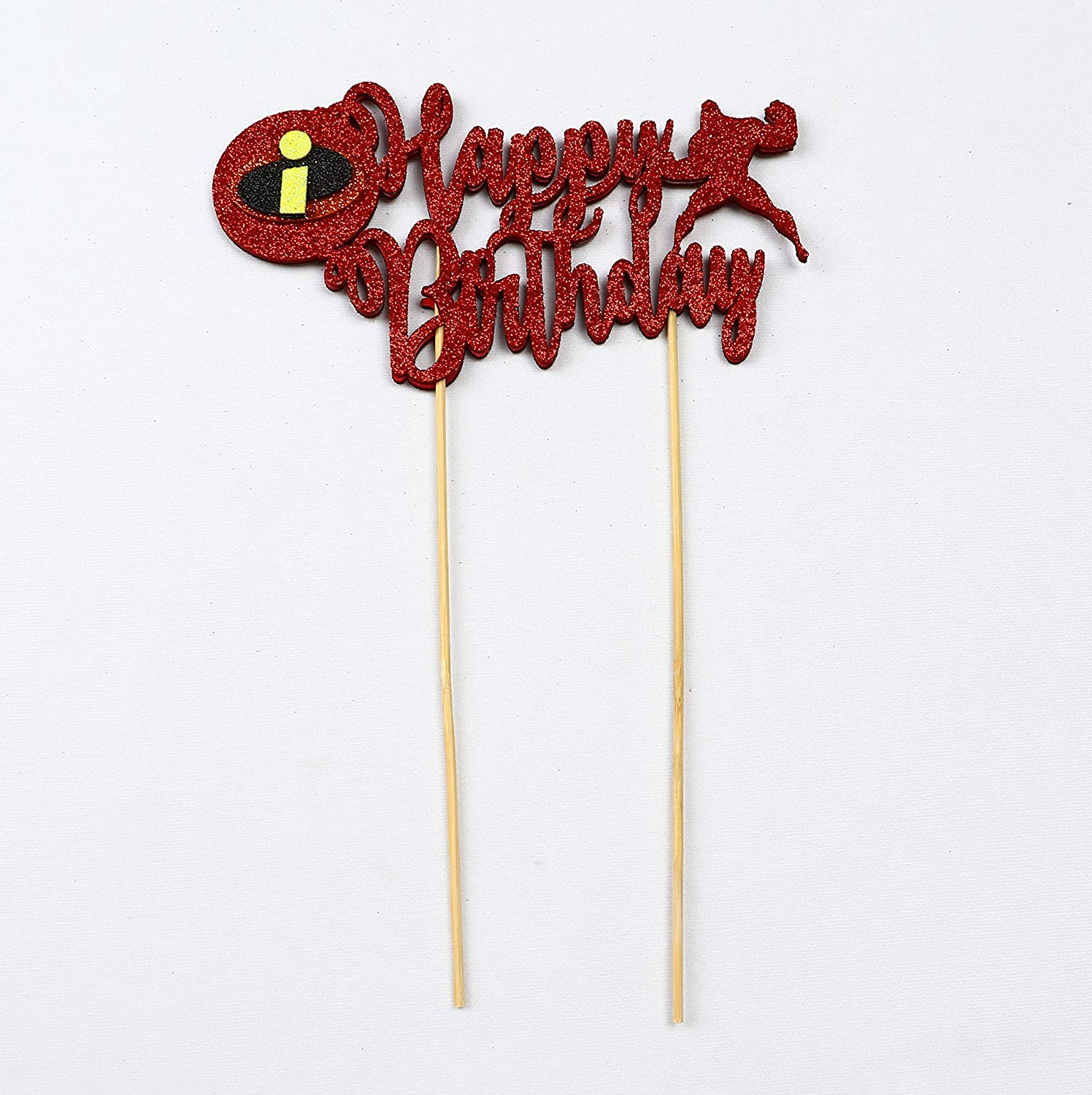 Incredibles Happy Birthday Cake Topper Super Hero with Double Sided Glitter Stock