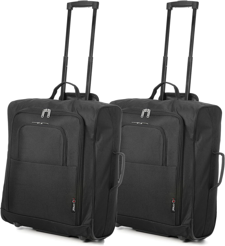 Easyjet e British Airways 56x45x25cm bagaglio a Mano massima approvato Trolley, 60L Capacità,(2X Negro)
