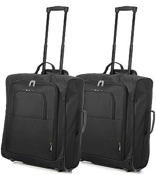 Easyjet e British Airways 56x45x25cm bagaglio a Mano massima approvato Trolley, 60L Capacità, (2X Negro): Amazon.es: Equipaje