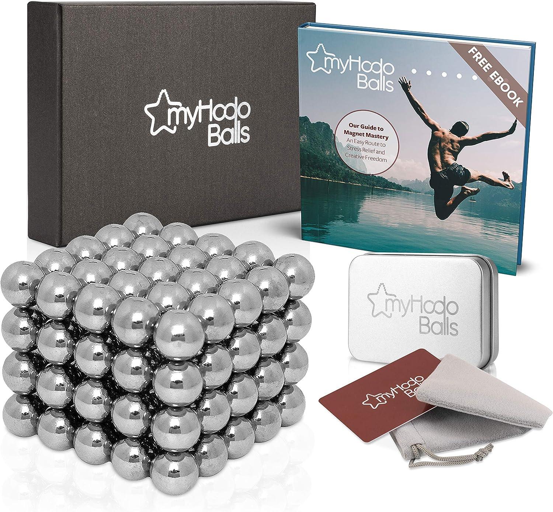 myHodo Bolas Magnéticas Antiestrés Extras Gratuitos, Bolitas Magnéticas, 100 Imanes Pequeños, Magnetic Balls, Bolas Imantadas, Gran Idea de Regalo, Imanes para Superficies Magnéticas (Plata)