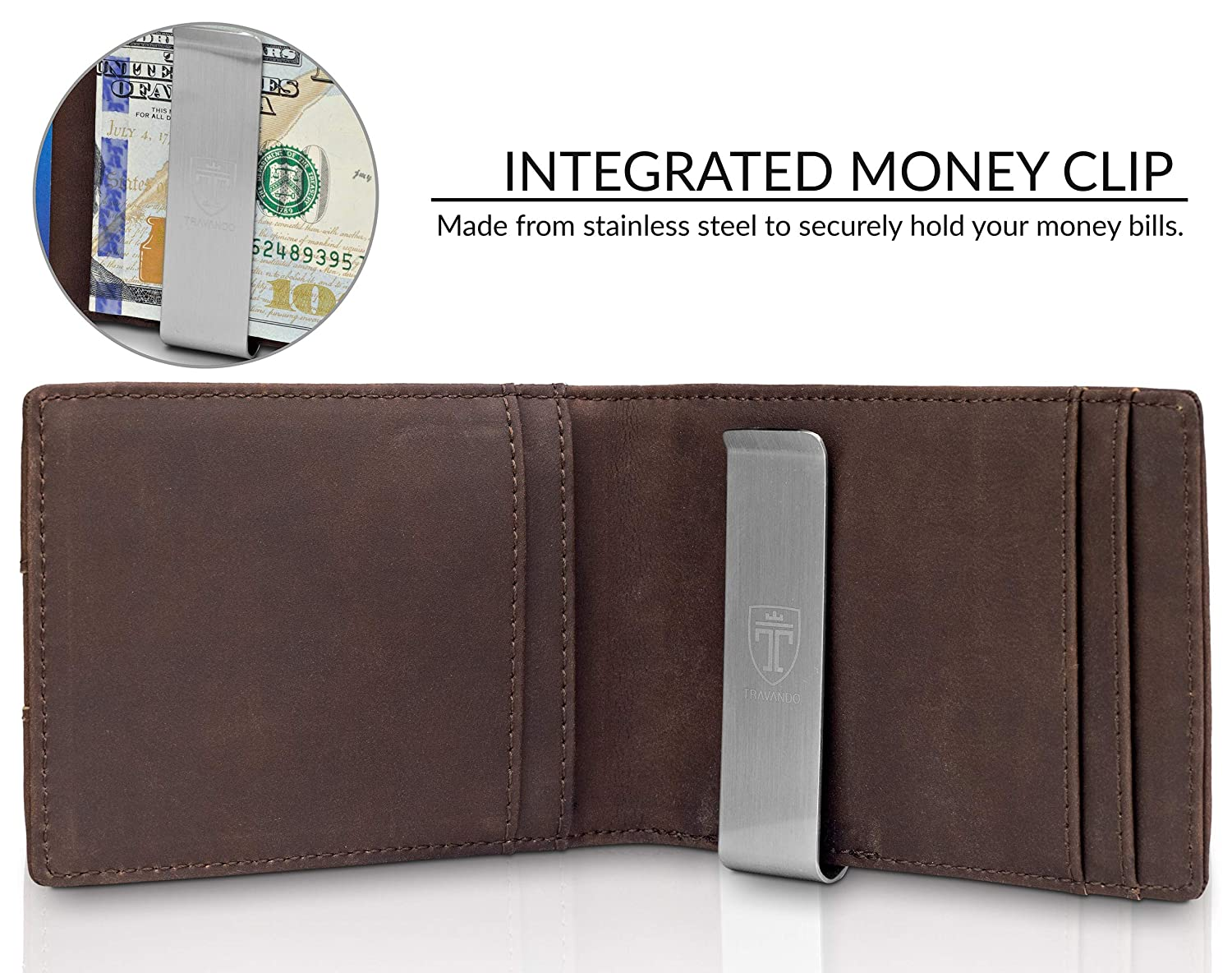 80619f2a Money Clip Wallet HOUSTON Mens Wallet RFID Blocking Wallet | Minimalist  Mini Slim Wallets Bifold for Men with Gift