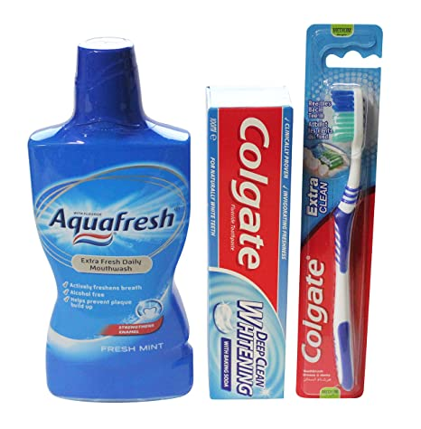 Oral Care regalo Bundle – 500 ml Aquafresh – Enjuague bucal 100 ml limpieza profunda Colgate