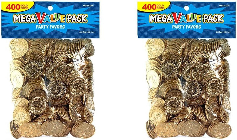 Amscan 400 Count Novelty Plastic Gold Coins - 2 Pack Bundle (800 Coins Total)