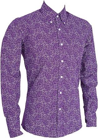 Camisa de Manga Larga para Hombre, diseño de Cachemira, Color Morado Morado Morado (XL 107/112 cm: Amazon.es: Ropa y accesorios