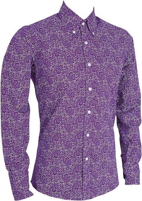 Camisa de manga larga para hombre, diseño de cachemira, color ...