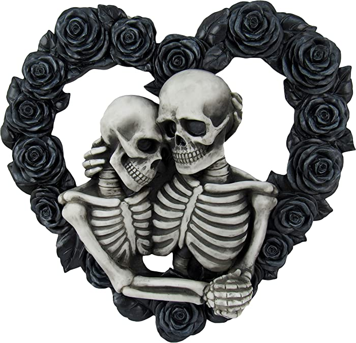 DWK - Our Love is Eternal - Beautiful Gothic Skeleton Lovers Embracing on Black Rose Wreath Wall Sculpture Romantic Goth Home Decor Accent Door Wreath, 13-inch