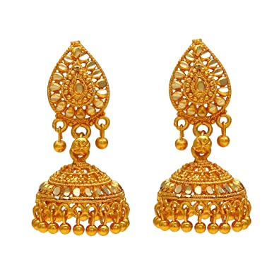fe61a0df1ea51 Memoir 24KT Yellow Gold Plated handmade Ethnic daily use stylish Simple  sober medium size Jhumki earring Jhumka Traditional Women Earrings