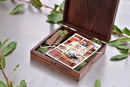 5x7 Wooden Photo Album Box USB 3.0 Flash Drive Engraved Wedding Photography Gift