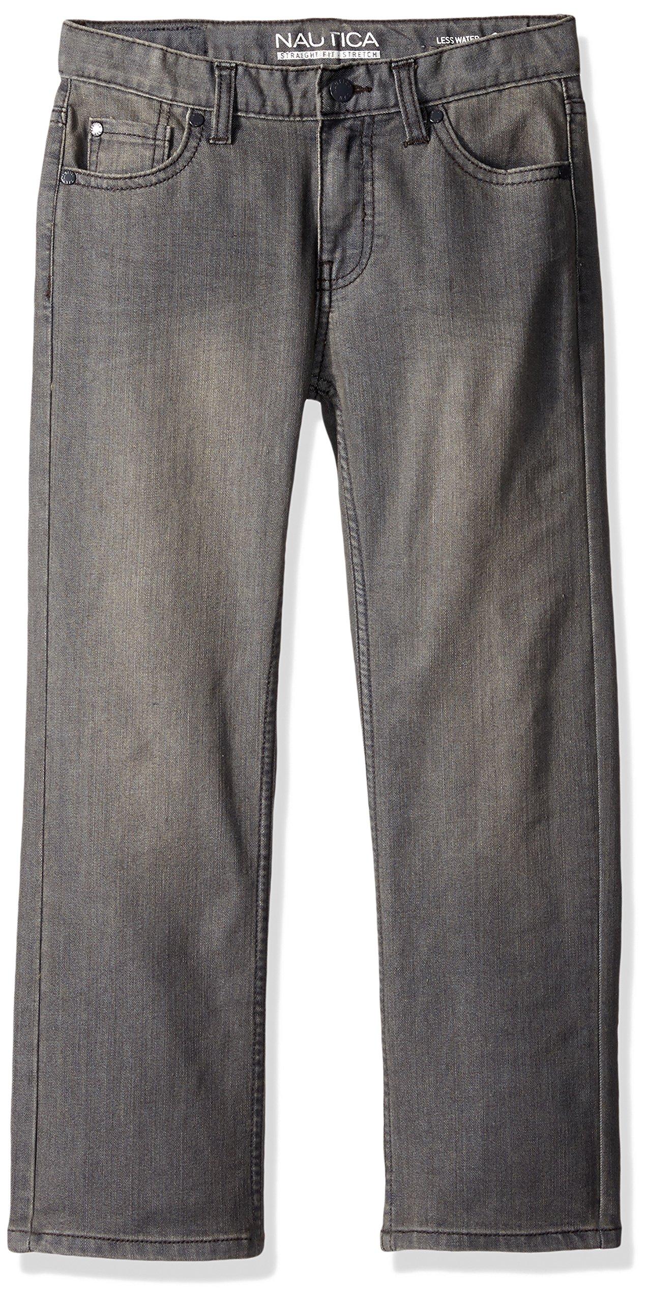 Nautica Big Boys' 5-Pocket Straight Fit Jeans, Shale/Stretch, 14
