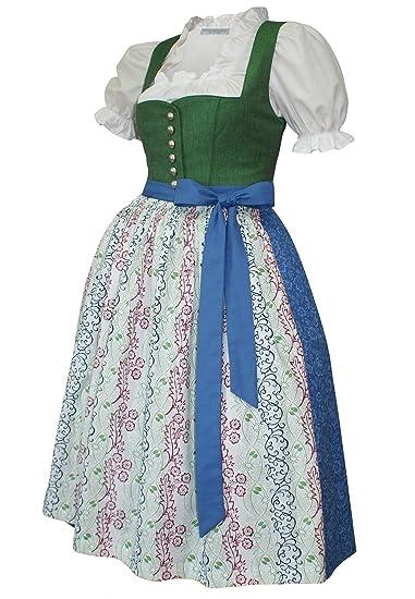 483377a0829e Dirndl Trachten-Kleid Trachtenkleid Dirndlkleid Leinen Baumwolle grün blau  Leinendirndl Leinenkleid Made in Austria bedruckte Baumwollschürze Druck ...