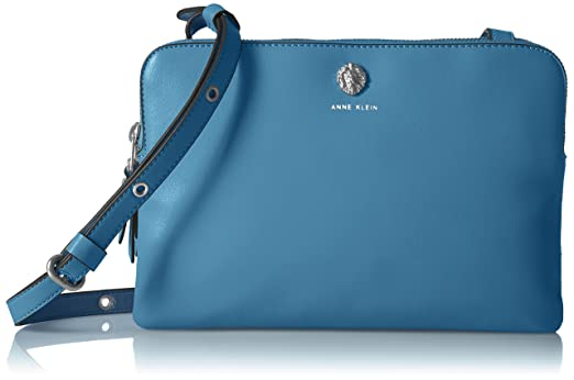 Anne Klein Signature Duo Crossbody, Powder Blue/Sbl mm