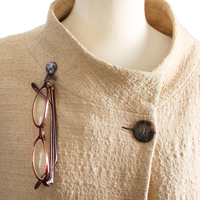 TAMARUSAN Glasses Holder Pin Brooch Purple Lily Flower Sunglasses Holder
