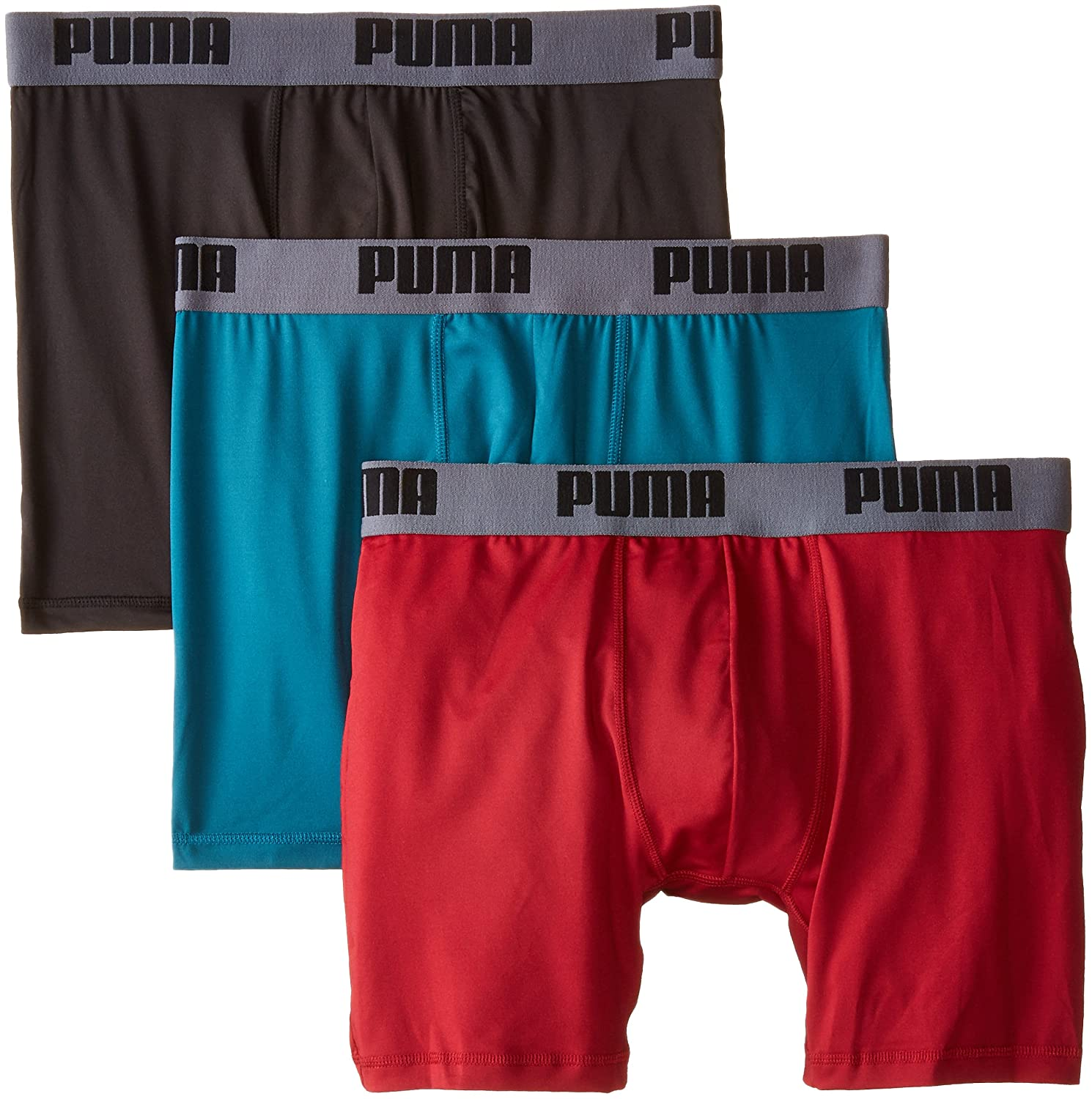 PUMA Mens 3 Pack Boxer Brief, Red/Grey/Teal, Large: Amazon.es: Ropa y accesorios