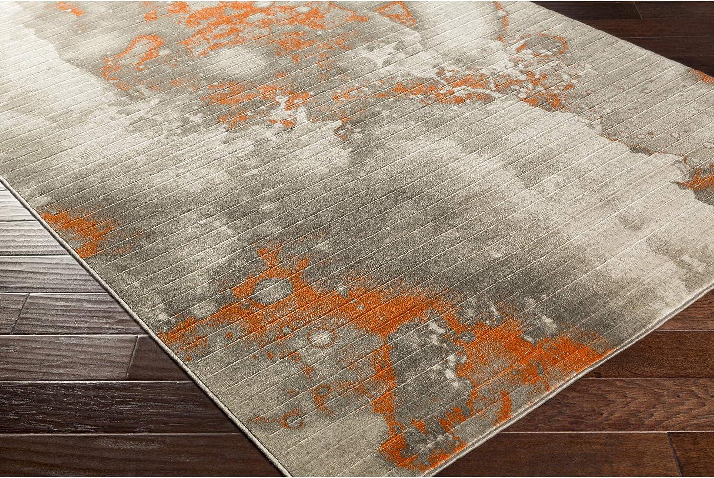 Ines Light Gray And Burnt Orange Modern Area Rug 2 2 X 3 Furniture Decor