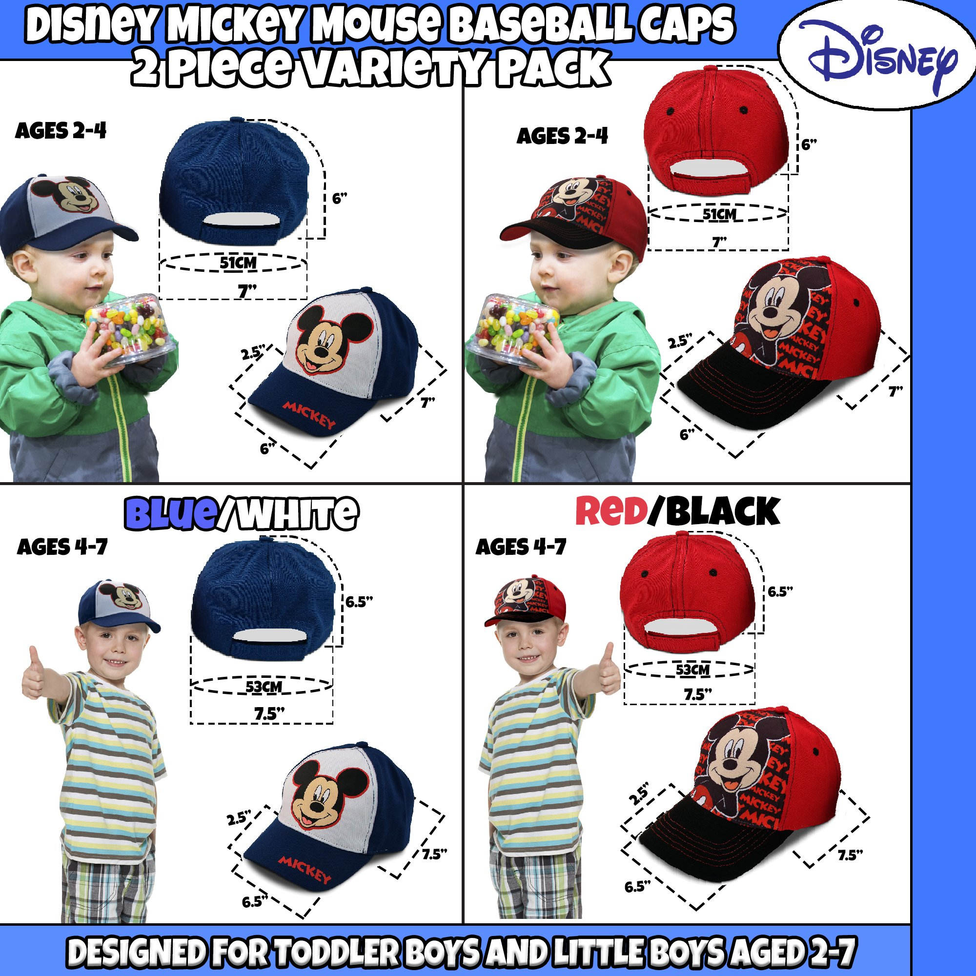 Disney Little Boys Assorted Character Cotton Baseball Cap, 2 Piece Design Set, Age 2-7 (Toddler Boys – Age 2-4 – 51 cm, Mickey Mouse Design – 2 Piece Set) by Disney (Image #4)