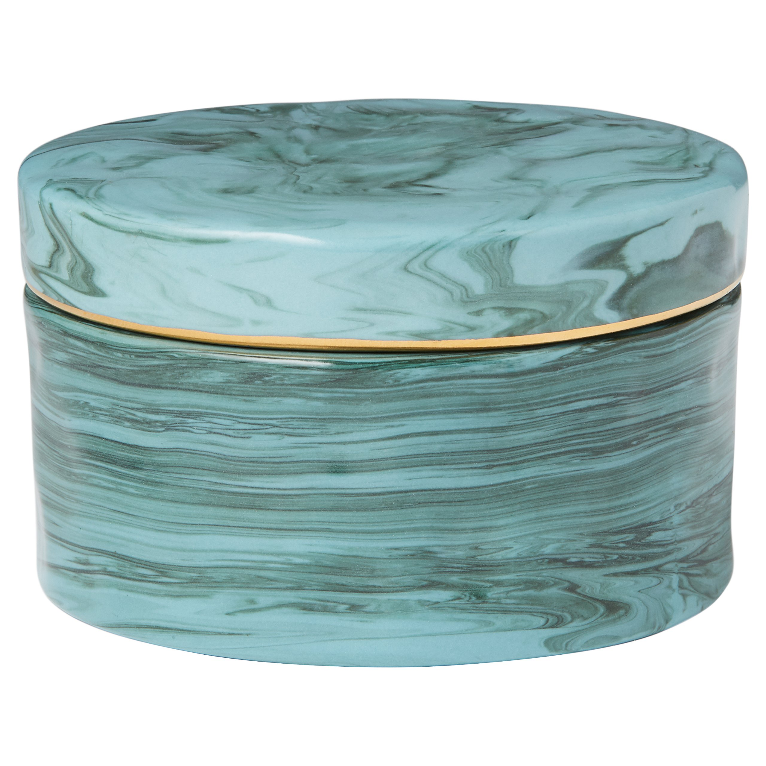 Amazon Brand – Rivet Decorative Stoneware Jewelry Keepsake Box - 4 x 2 Inch, Marbled Blue-Green