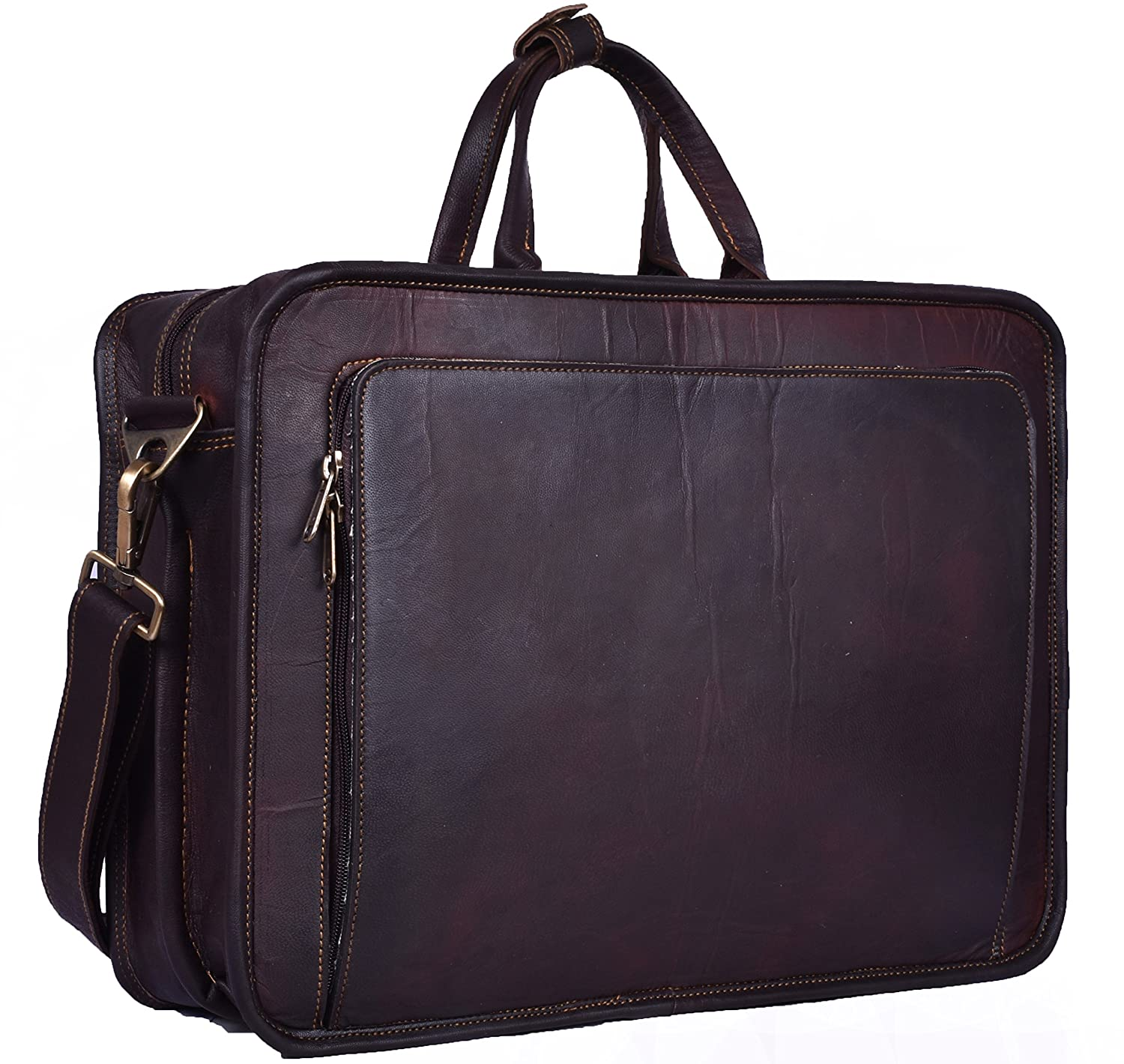 Handmade World Leather Messenger Bag - 16 Inch Briefcase Messenger Bag  Brown Leather with Crossbody Shoulder Strap - Great Messenger Bag for  Laptops 0e8be6aa62749