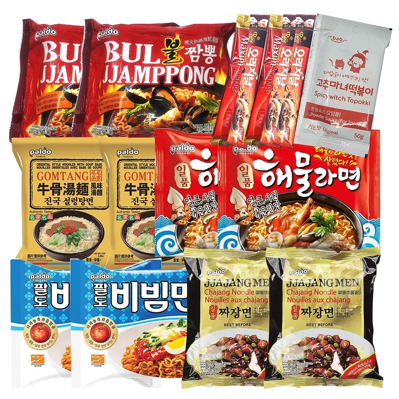 K-Foods Korean Hit Noodle Ramen Variety Pack with Tteokbokki Sauce Ramen Instant Coffee Mix Pack, Jjajangmen, Bibimmen, Gomtang, Bul Jjambbong, Seafood Ramen (Pack of 16)