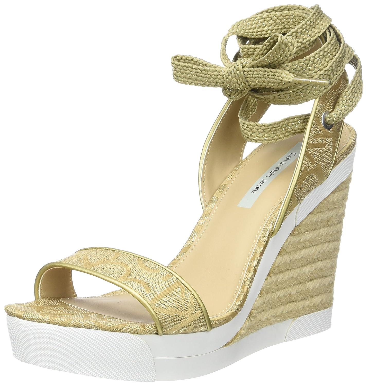 TALLA 40 EU. Calvin Klein Eleanor Metallic Jacq./Nappa Smooth, Sandalias con Plataforma para Mujer