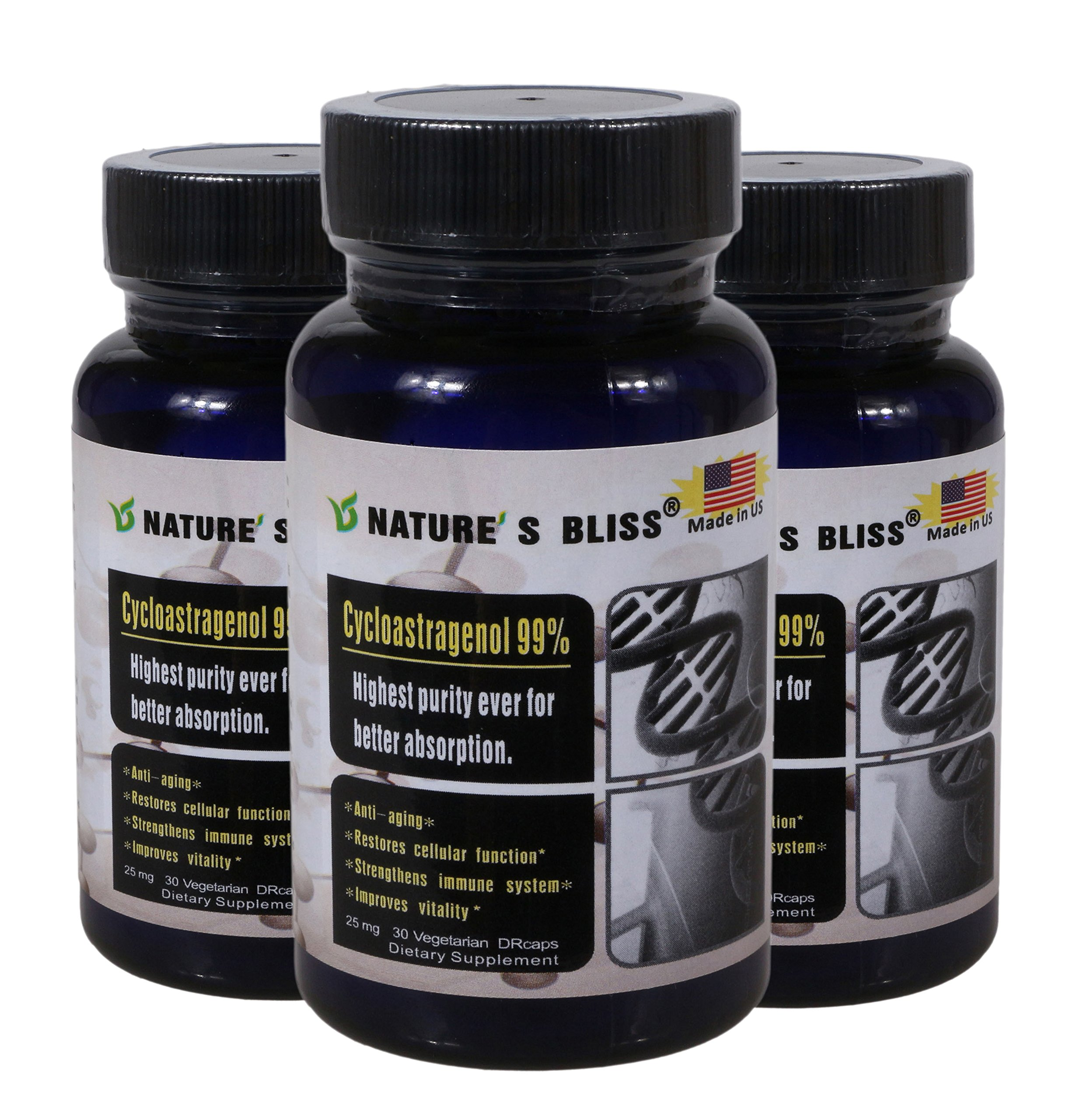 Stomach Acid Protected & Super-Absorption Cycloastragenol 99%, Made in USA, 90 caps in 3 bottles (25mg*30caps*3bottles)