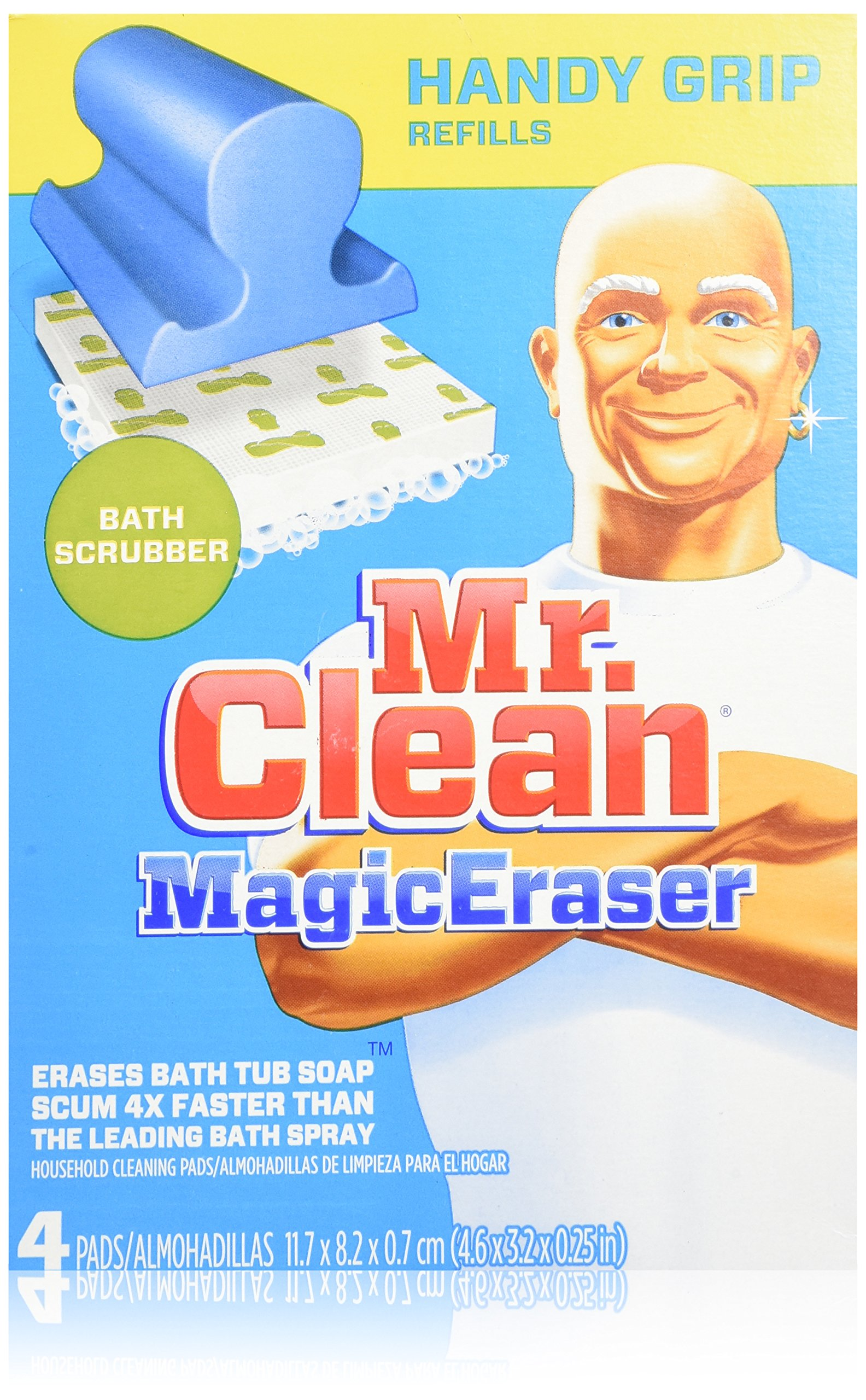 Mr Clean Magic Eraser Handy Grip Bath Refills 4 Count