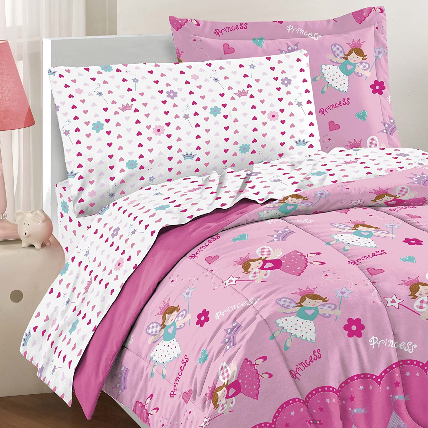 Design Princess Bedding amazon com dream factory magical princess ultra soft microfiber girls comforter set pink twin home kitchen